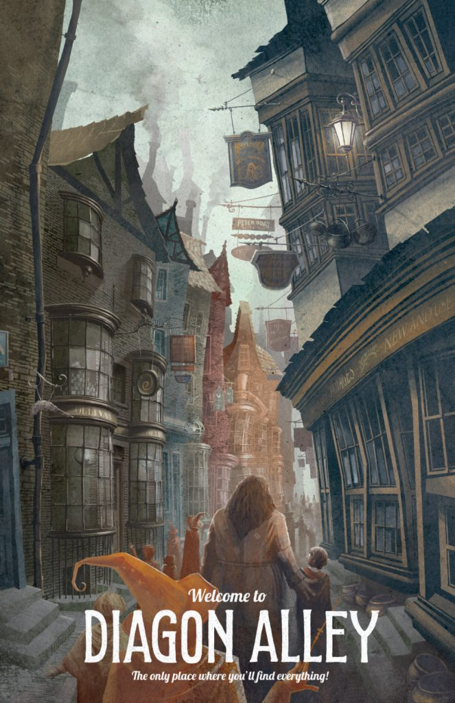 Illustration of Harry Potter with Hagrid in Diagon Alley