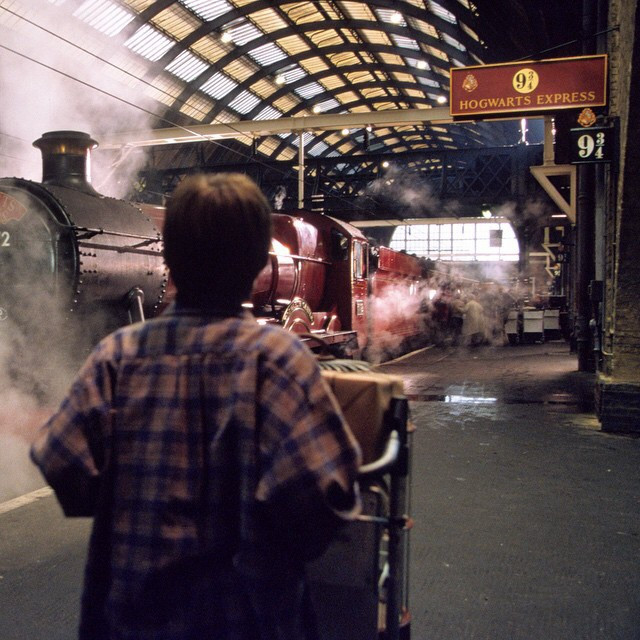 Harry arriving to the Hogwarts express in the movie