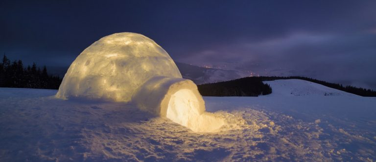 Igloo building in the Arctic