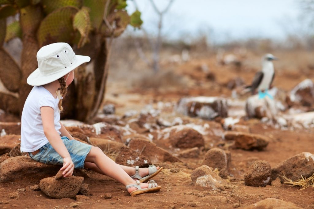 Girl travelling and exploring galapagos