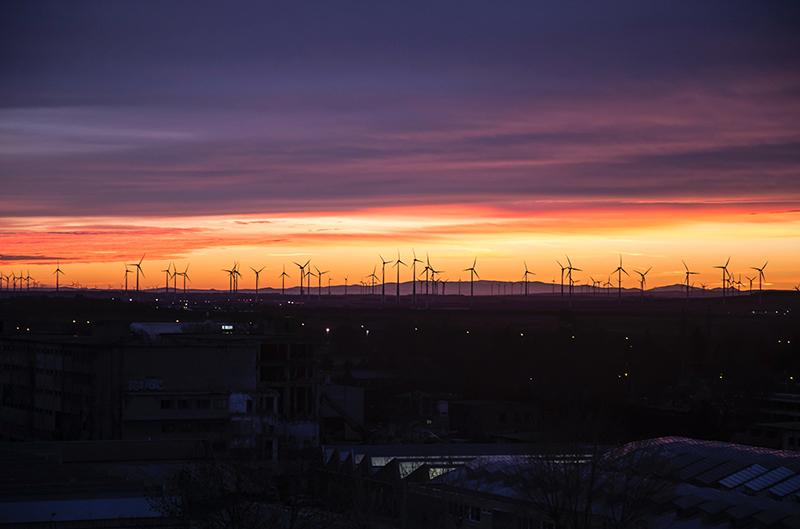 Wind Farm at night