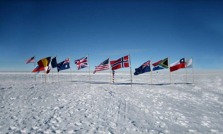 Flags in Antartica